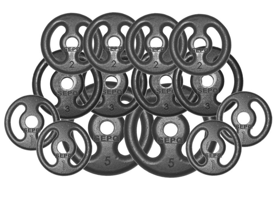Kit com 14 Anilhas de Ferro Fundido - 34 Kg - Loja Portal