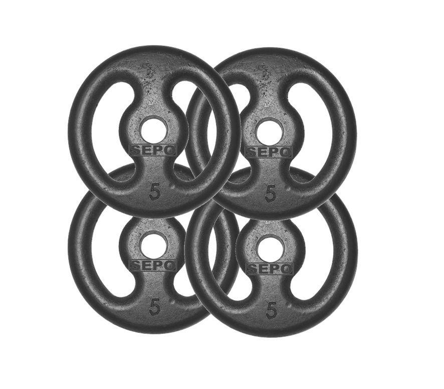 Kit com 04 Anilhas de Ferro Fundido de 5Kg