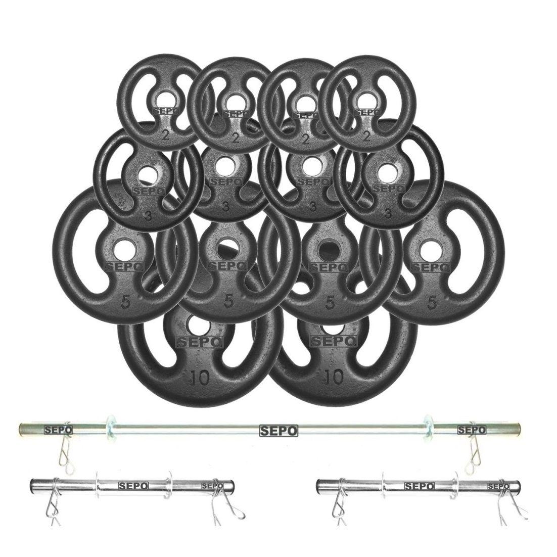 Kit Anilhas Ferro Fundido 60 Kg + Barras com Presilhas