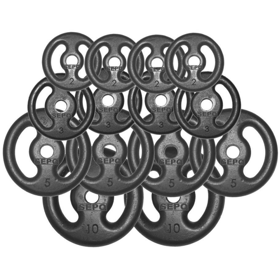 Kit Anilhas Ferro Fundido 60 Kg + Barras com Presilhas - Loja Portal