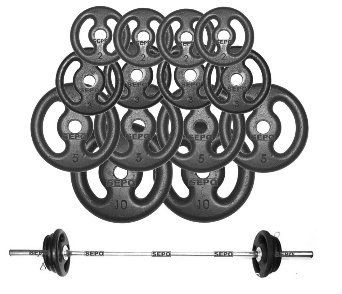 Kit Anilhas de Ferro Fundido 60 Kg + Barra de Tubo Oca 120cm - Loja Portal