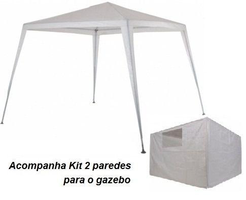 Tenda Gazebo Ráfia Base 3mx3m e Topo 2,4mx2,4m + Conjunto de Paredes Laterais Ráfia - Mor - Loja Portal