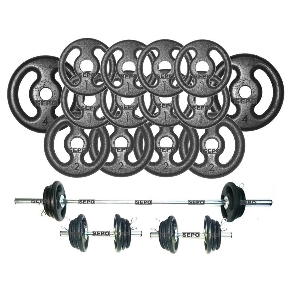 Kit Anilhas e Barras para Musculação - 23 Peças  - Loja Portal