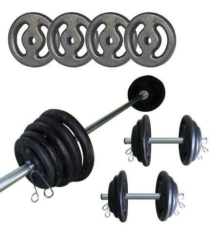 Kit Anilhas Ferro Fundido 20 Kg + 1 Barra 160cm + 2 Barras 40cm