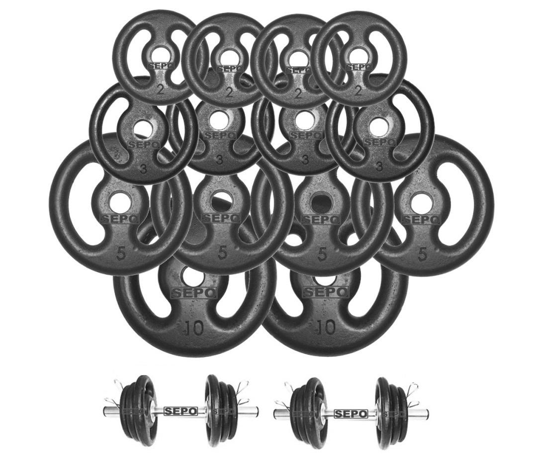 Kit Anilhas de Ferro Fundido 60 Kg + 02 Barras de Tubo 40cm - Loja Portal
