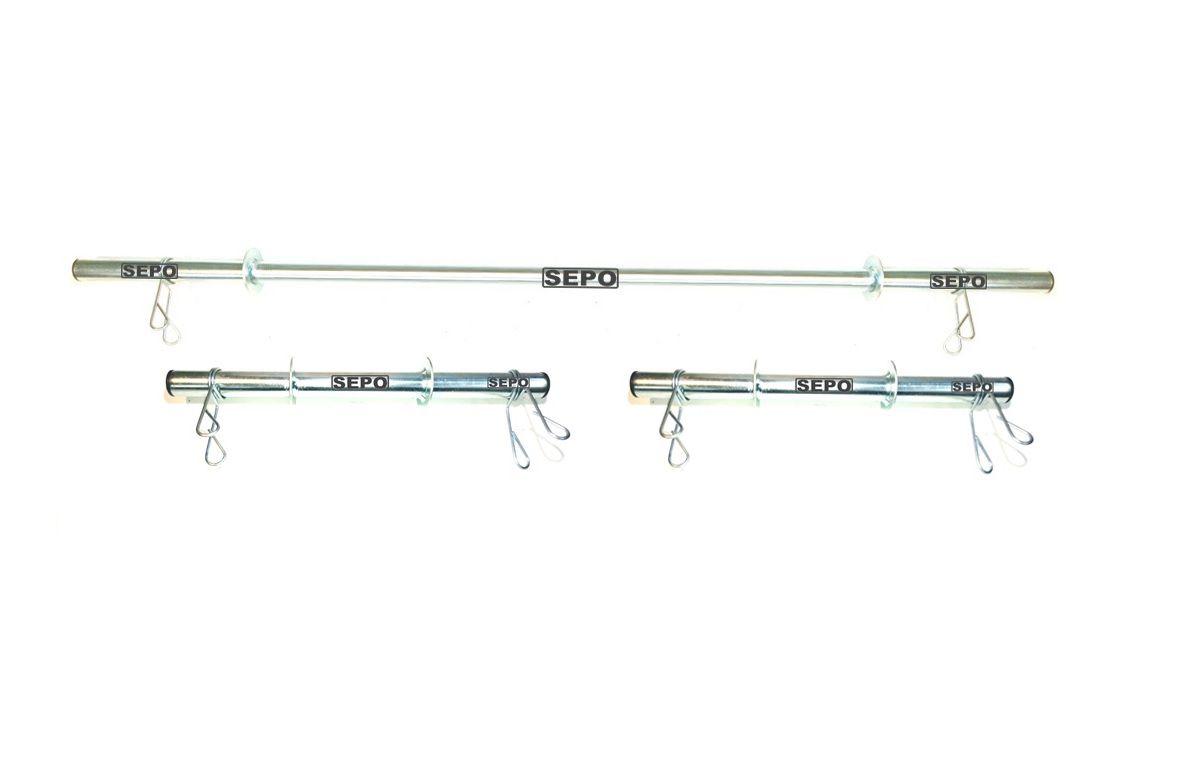 Kit de Barras Ocas para Halteres e Supino 40cm e 120cm com Presilhas  - Loja Portal