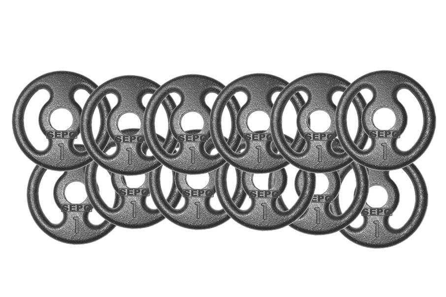 Kit com 12 Anilhas de Ferro Fundido de 1Kg - Loja Portal