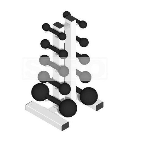 Suporte de Chão Completo + 10 Halteres de Ferro Fundido Pares de 1 a 5 Kg - Loja Portal
