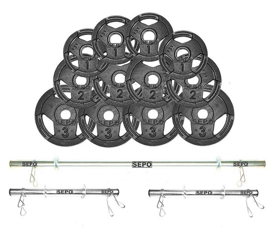 Kit de Anilhas Sport Luxo 24 Kg + Barras com Presilhas