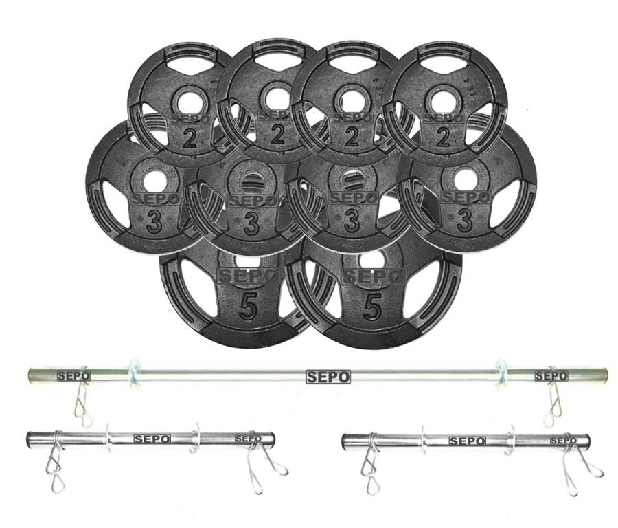 Kit de Anilhas Sport Luxo 30 Kg + Barras com Presilhas - Loja Portal