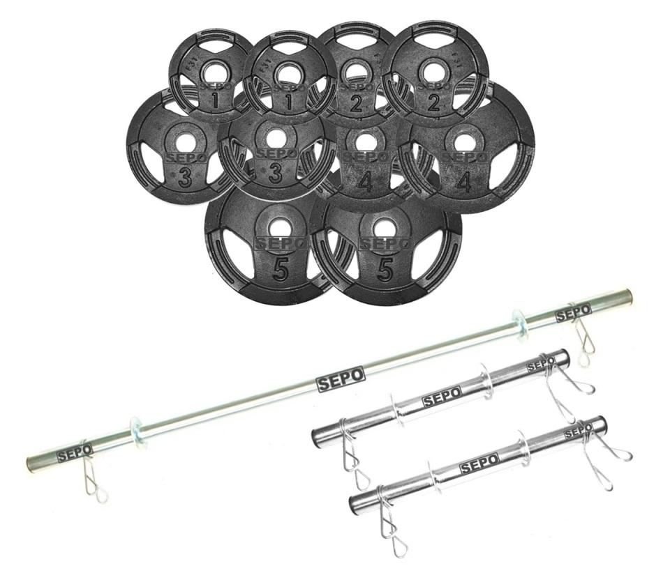 Kit Completo de Anilhas Sport Luxo + Barras com Presilhas - Loja Portal