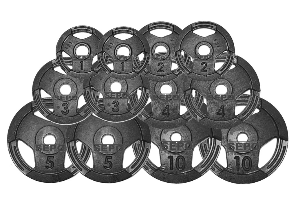 Kit de Anilhas Sport Luxo 50 Kg + Barras com Presilhas - Loja Portal