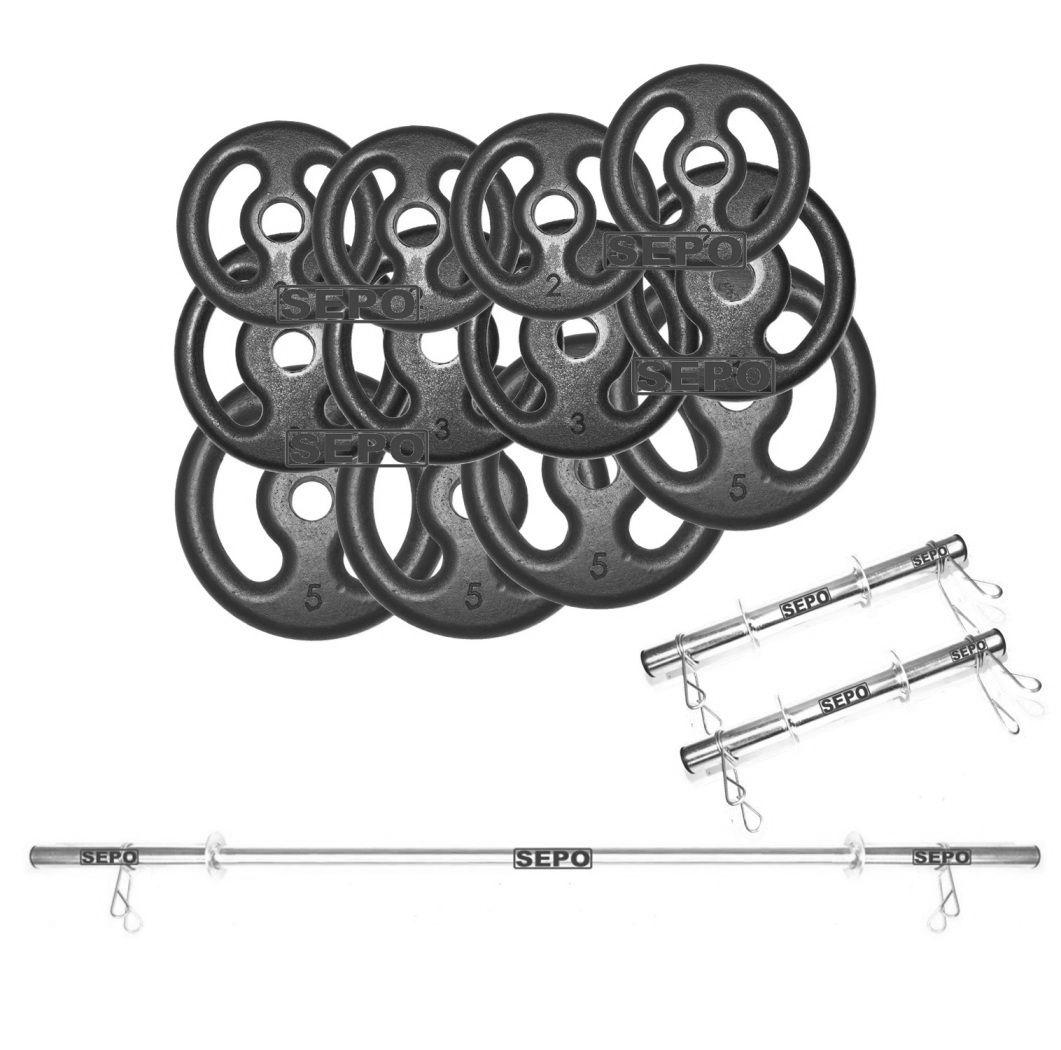 Kit com 40 Kg de Anilhas Ferro Fundido + 1 Barra 1,60m + 2 Barras 40cm