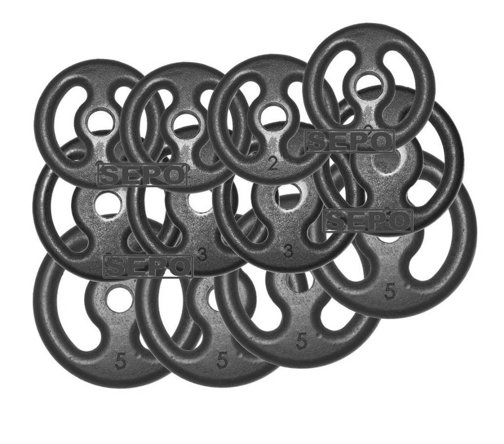 Kit com 40 Kg de Anilhas Ferro Fundido + 1 Barra 1,60m + 2 Barras 40cm  - Loja Portal