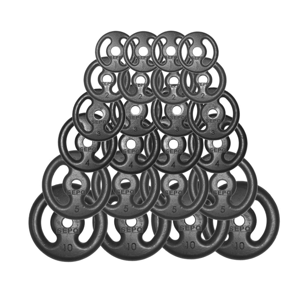 Kit 100Kg com 24 Anilhas de Ferro Fundido - Loja Portal