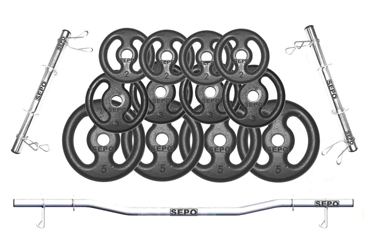 Kit de Anilhas Ferro Fundido 40Kg + 02 Barras 40cm + 01 Barra W de 120cm - Loja Portal