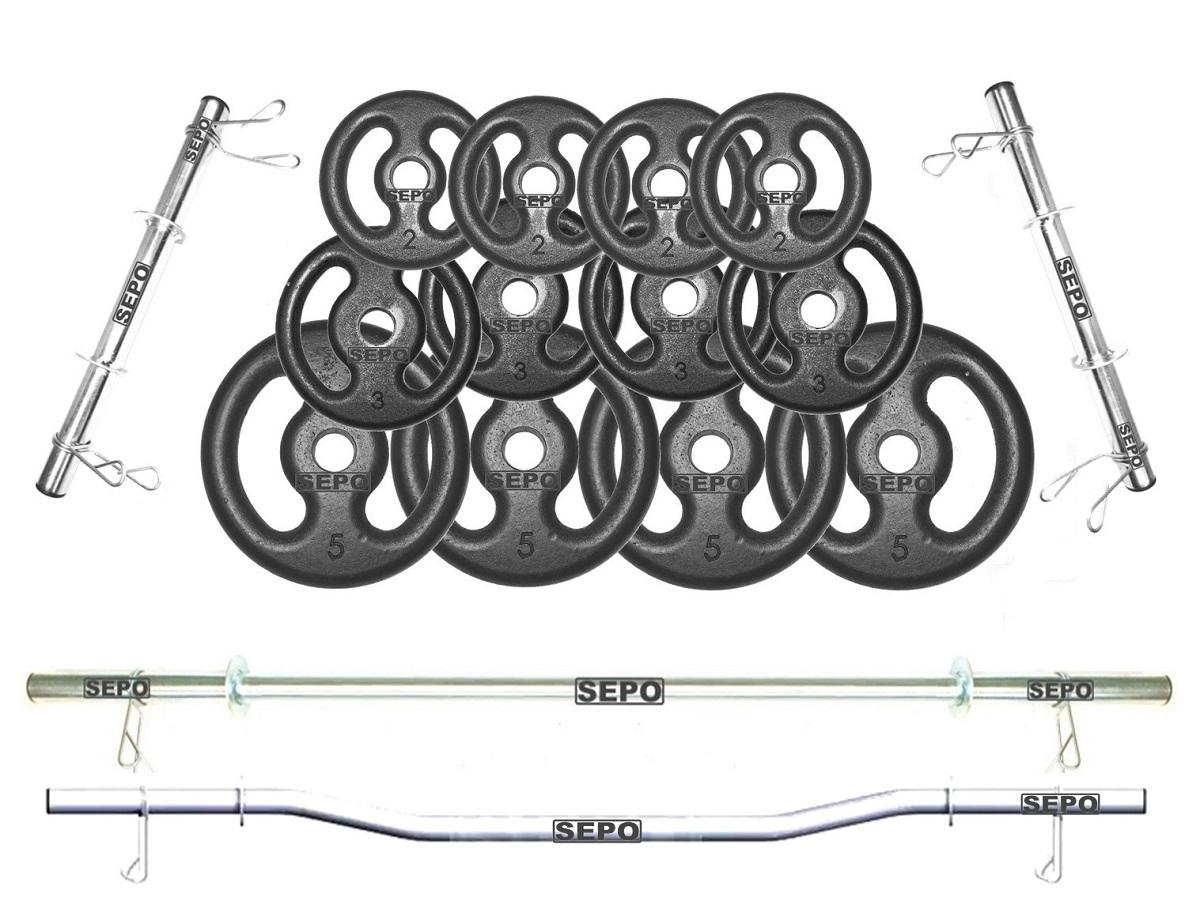 Kit de Anilhas Ferro Fundido 40Kg + 02 Barras 40cm + 01 Barra 120cm + 01 Barra W - Loja Portal
