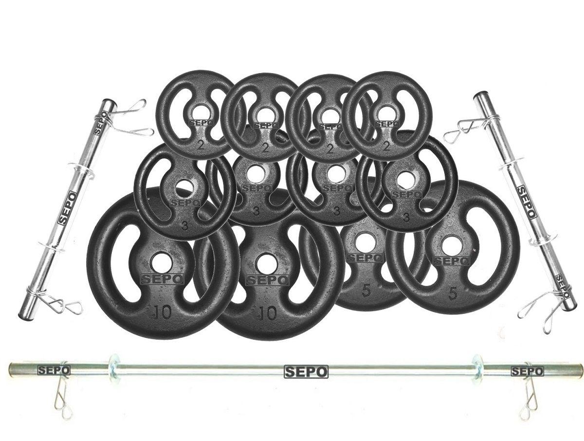 Kit Anilhas Ferro Fundido 50Kg + 2 Barras de 40cm + Barra de 150cm