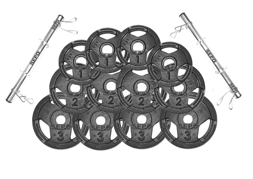 Kit Halteres de Anilhas Sport Luxo e Barras Fitness - 24 Kg