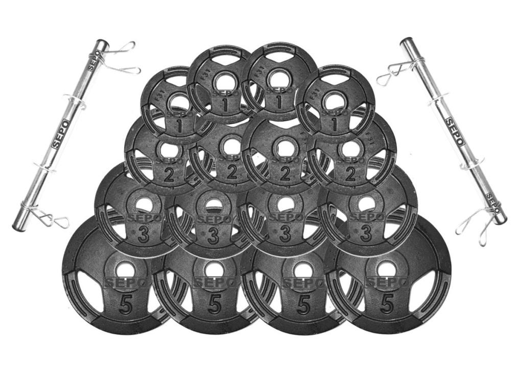 Kit Halteres de Anilhas Sport Luxo e Barras Fitness - 44 Kg - Loja Portal