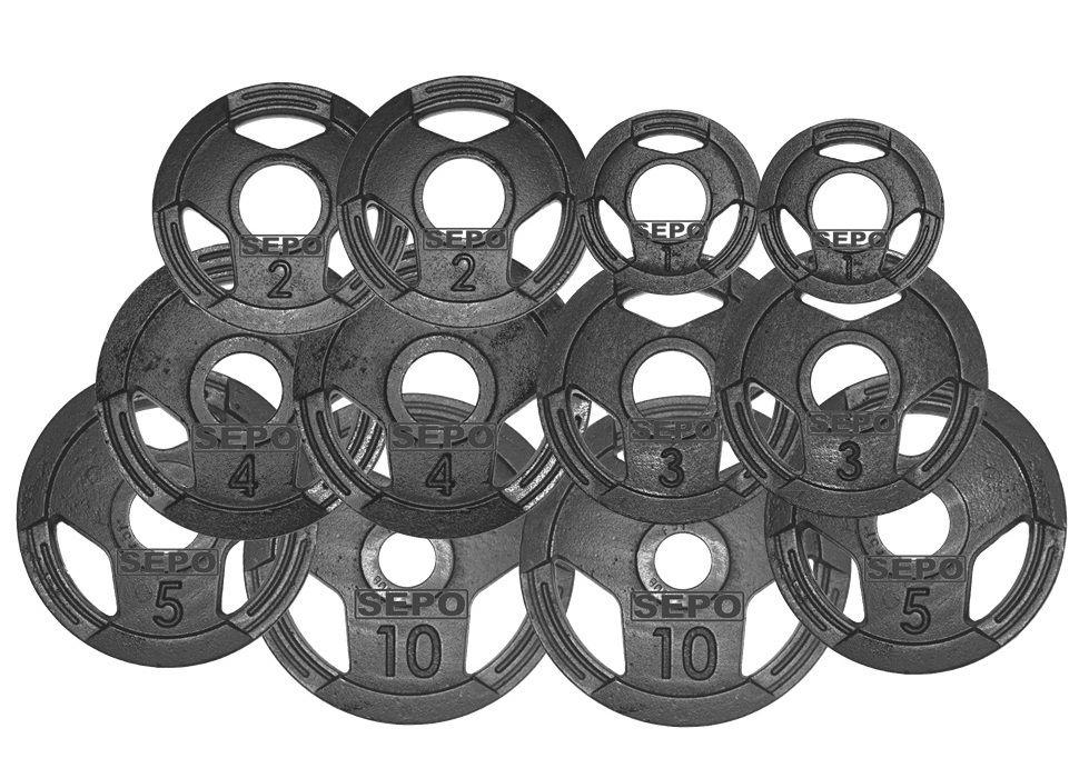 Kit de Anilhas Sport Luxo com Furação Olímpica - 50Kg  - Loja Portal