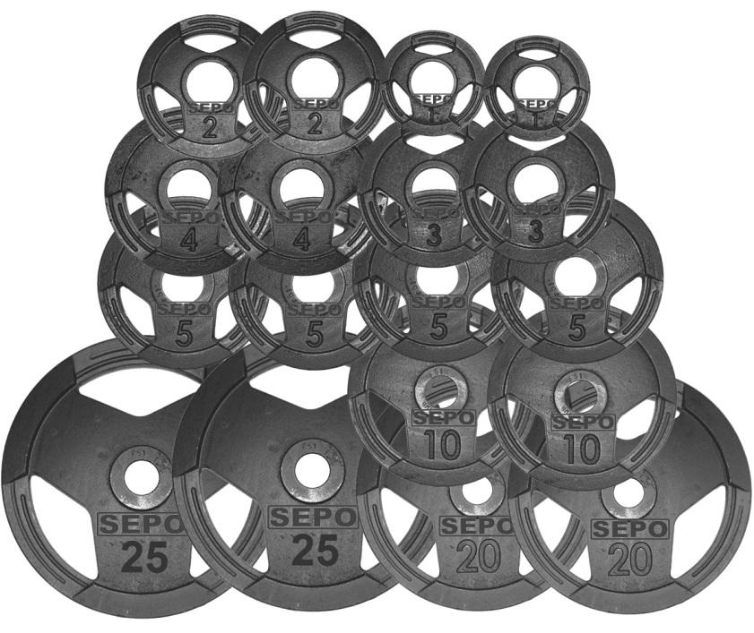 Kit de Anilhas Sport Luxo com Furação Olímpica - 150Kg - Loja Portal