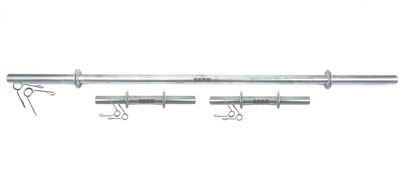 Kit de Barras Maciças para Halteres e Supino 33cm e 120cm com Presilhas