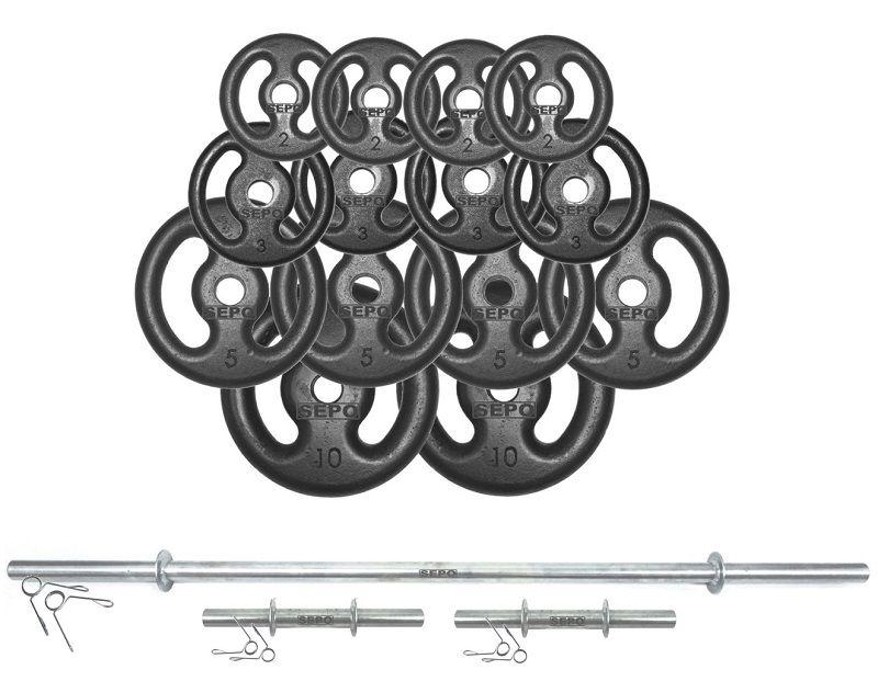 Kit Anilhas Vazadas 60 Kg + Barras Maciças Zincada