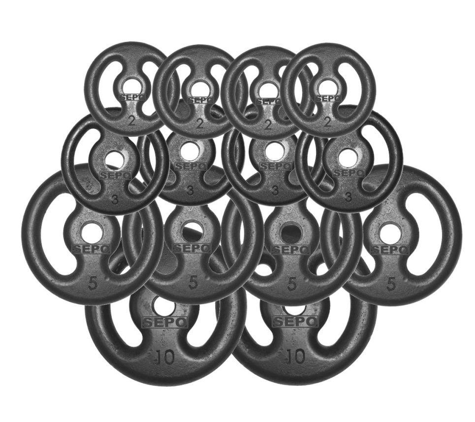 Kit Anilhas Vazadas 60 Kg + Barras Maciças Zincada  - Loja Portal