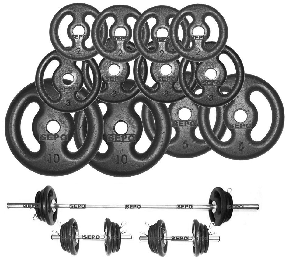 Kit Fitness com Suporte + 50 Kg de Anilhas com Barras  - Loja Portal