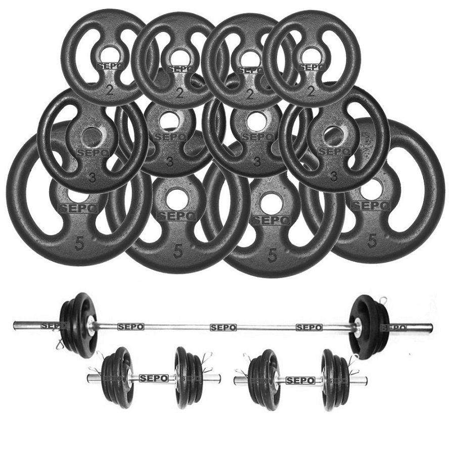 Kit Fitness com Suporte + 40 Kg de Anilhas com Barras  - Loja Portal