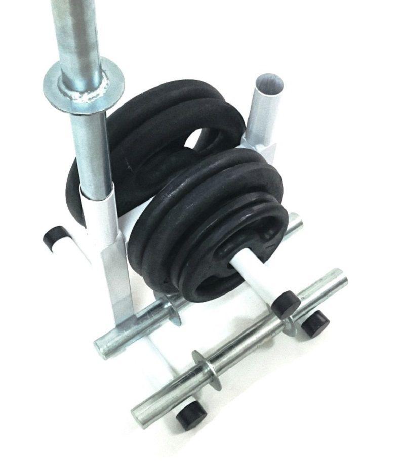 Kit Fitness com Suporte + 24 Kg de Anilhas + Barras de Halteres
