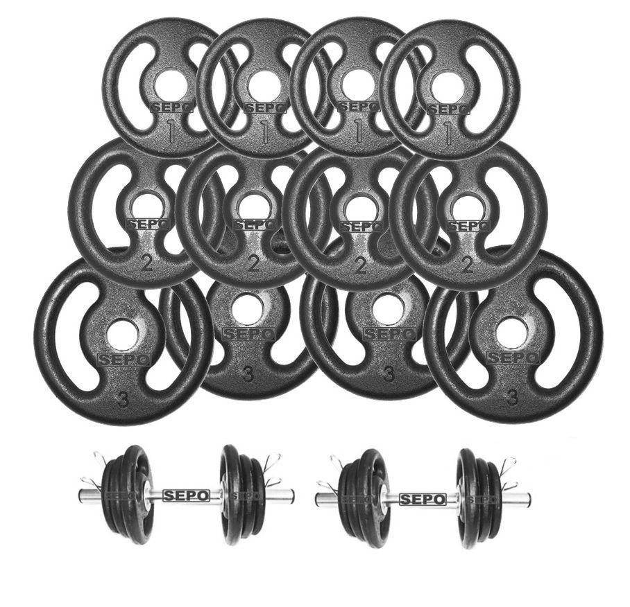 Kit Fitness com Suporte + 24 Kg de Anilhas + Barras de Halteres  - Loja Portal