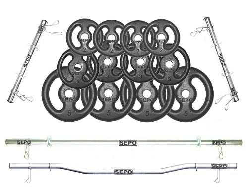 Kit Anilhas Ferro 60kg + Barras 40cm + Barra 120cm + Barra W - Loja Portal