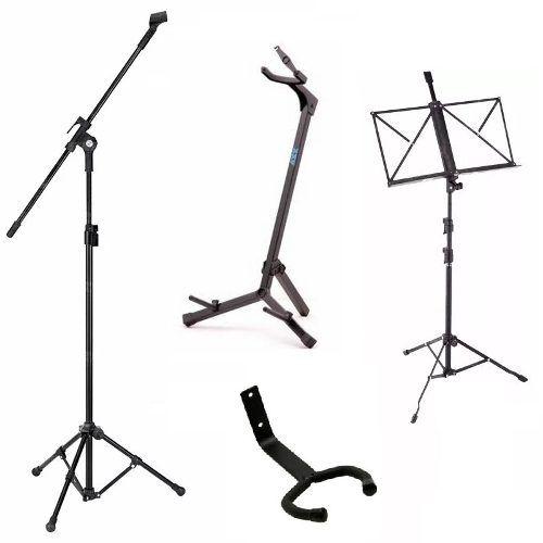 Pedestal P/ Microfone + Estante Partitura + 2 Suporte Violão - Loja Portal