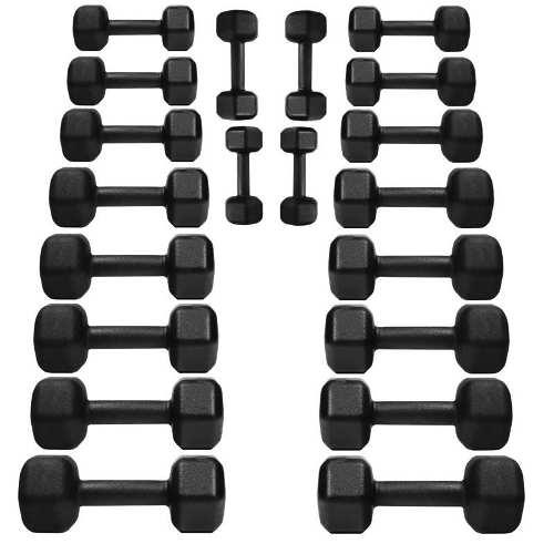 Kit C/ 20 Halteres Sextavados Ferro 1 Ao 10kg + Suporte Chão