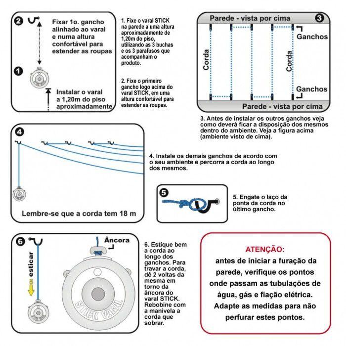 Varal Stick 18 Metros - Secalux  - Loja Portal