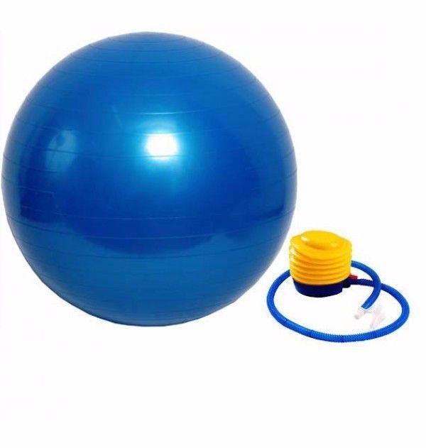 Bola para Pilates 65cm Azul + Bomba de Inflar  - Loja Portal