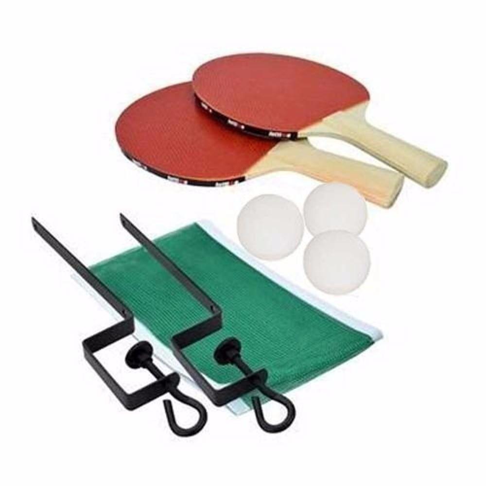 Jogo de Ping Pong com 2 Raquetes de Madeira + 3 Bolas + Rede + Suporte  - Loja Portal