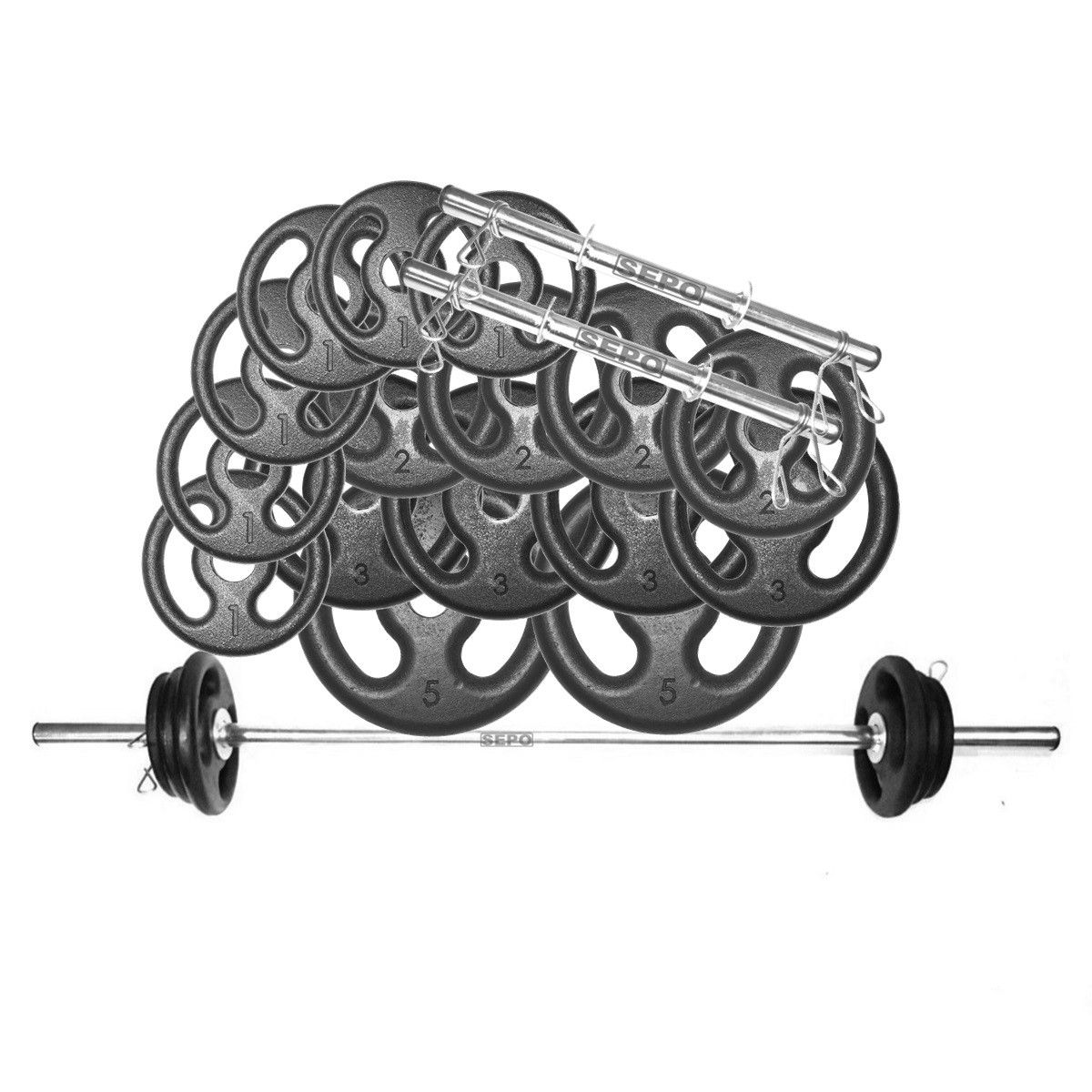 Kit Anilhas e Barras Musculação com Presilhas 36 Kg  - Loja Portal