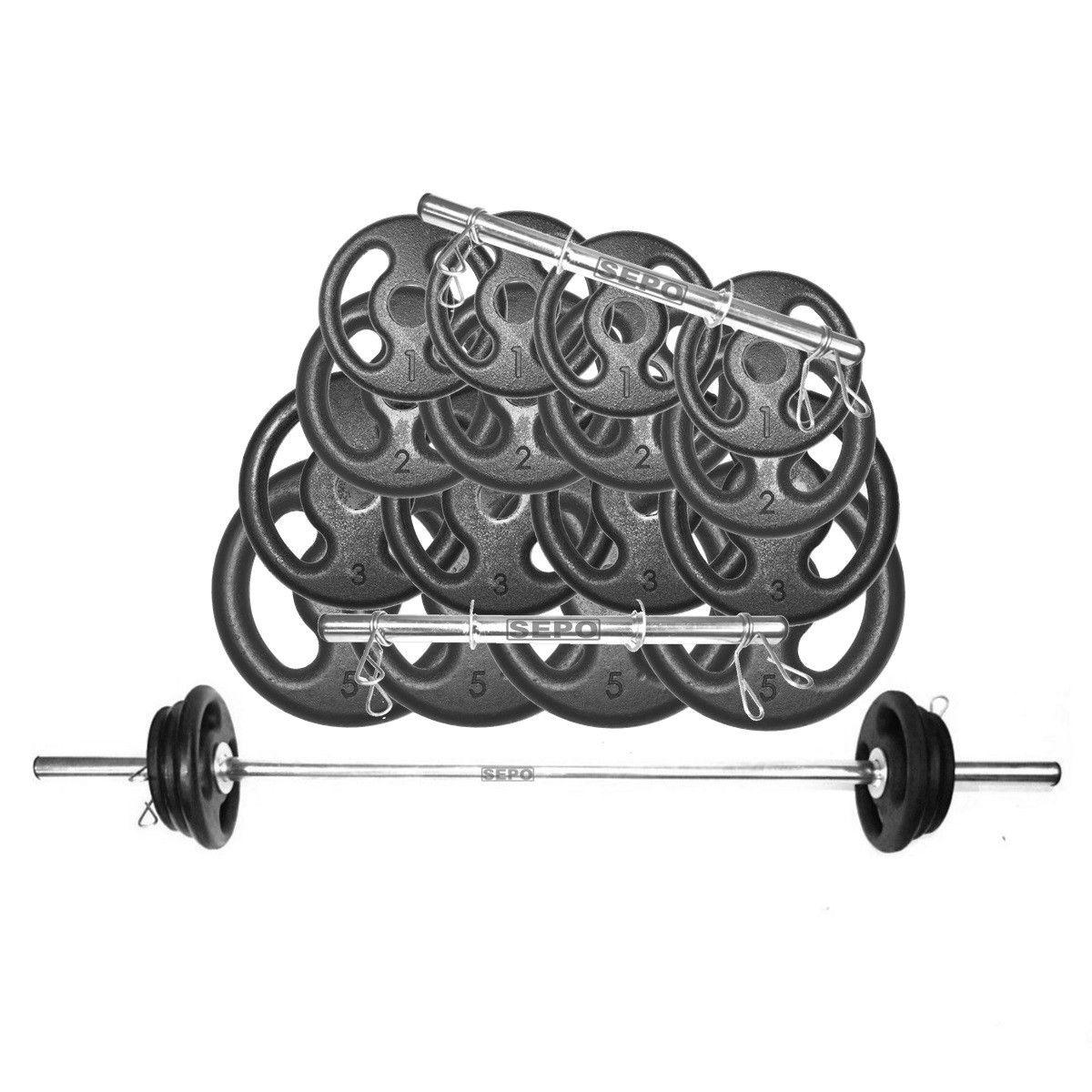 Kit Anilhas e Barras Musculação com Presilhas 44 Kg
