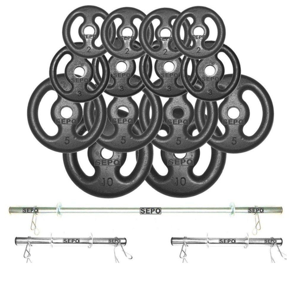 Kit Anilhas Ferro Fundido 60Kg + 2 Barras de 40cm + Barra de 150cm