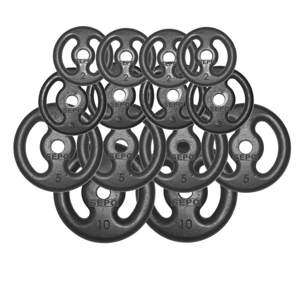 Kit Anilhas Ferro Fundido 60Kg + 2 Barras de 40cm + Barra de 150cm - Loja Portal