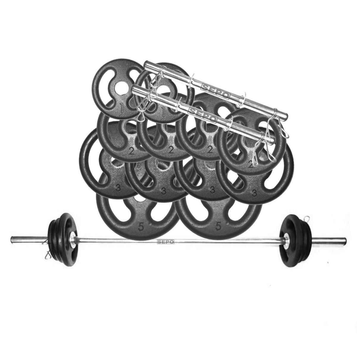 Kit Anilhas Musculação 32 Kg + Barras com Presilhas - Loja Portal