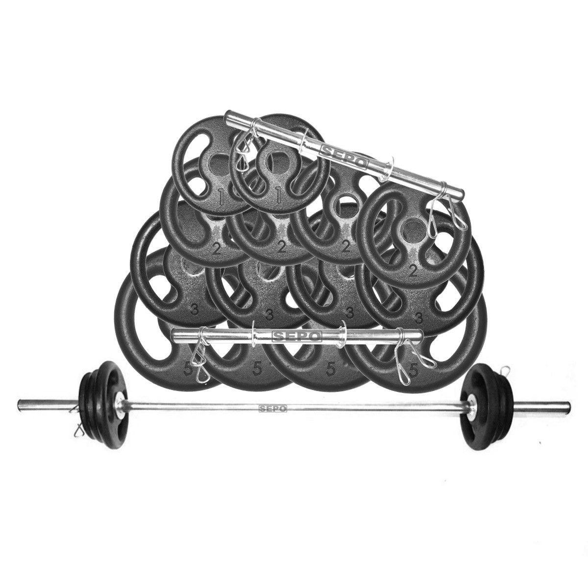 Kit Anilhas Musculação 42 Kg + Barras com Presilhas  - Loja Portal