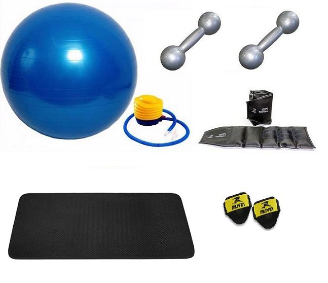 Kit Bola Suíça para Pilates, Colchonete EVA, Par Tornozeleira 2kg e Par de Halteres 2kg - Loja Portal