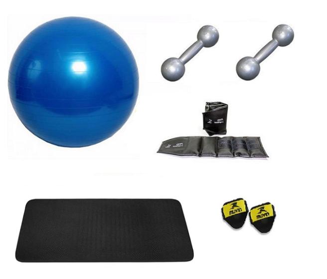 Kit Bola Suíça para Pilates, Colchonete EVA, Par Tornozeleira 2kg e Par de Halteres 2kg