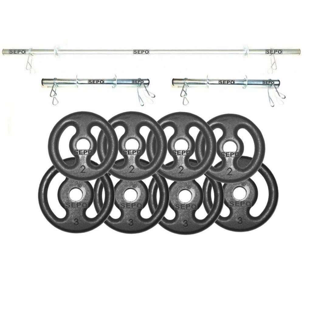 Kit Completo 3 Barras + 6 Presilhas + 20 Kg de Anilhas