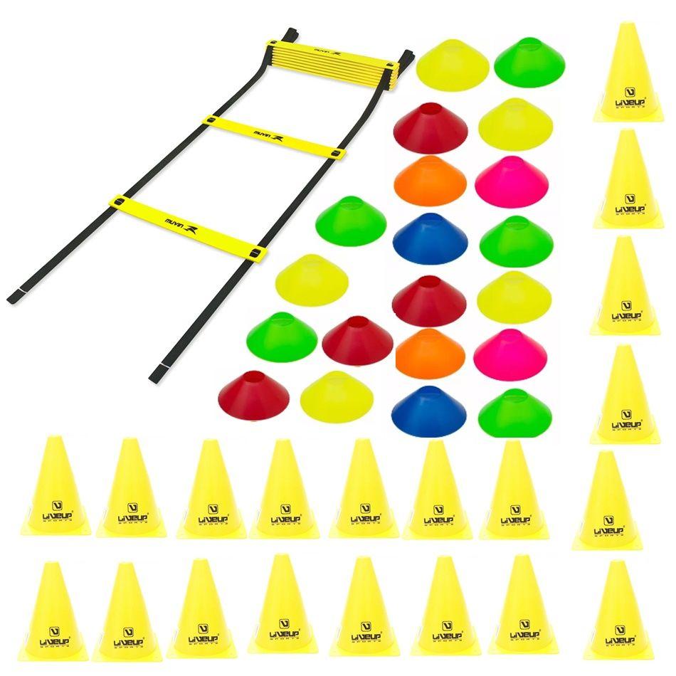 Kit Treinamento Funcional Escada Agilidade + 20 Cones + 20 Mini Cones  - Loja Portal