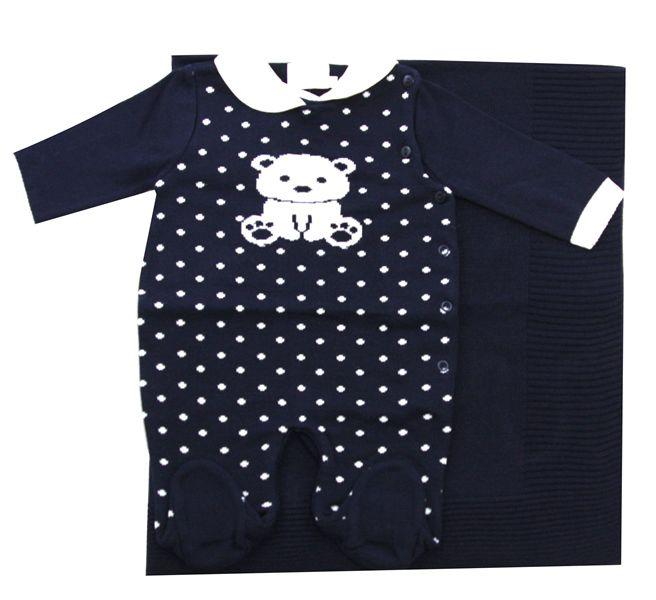 11.646 - Saída Maternidade Jacquard Urso e Poa
